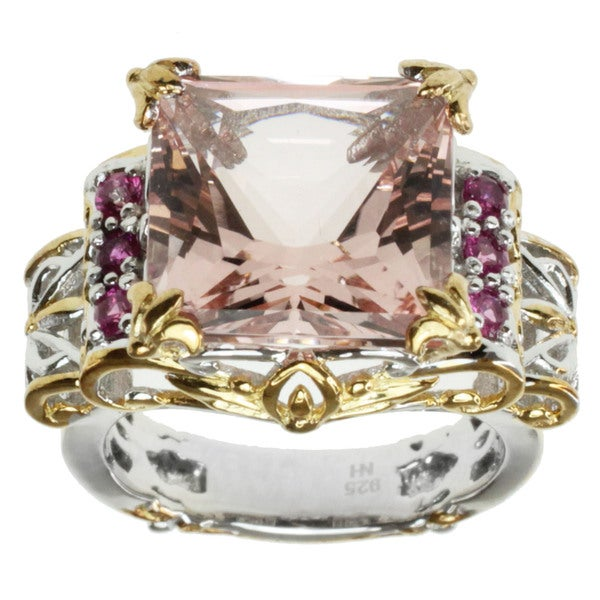 Michael Valitutti Two-tone Morganite and Hot Pink Sapphire Ring