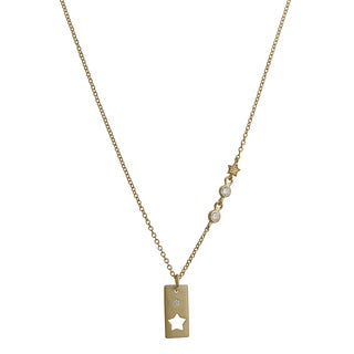 Fremada Gold Over Silver Cubic Zirconia Rectangle With Cut-out Star Necklace (18 inch)