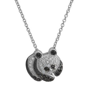 Fremada Rhodium Plated Sterling Silver Cubic Zirconia Panda Bear Necklace (18 inch)