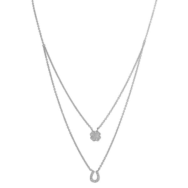 Fremada Sterling Silver Cubic Zirconia Clover and Horseshoe Charm Layered Necklace (16 inch)