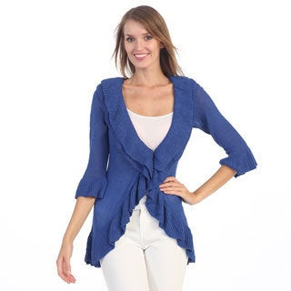 Hadari Women's Royal Blue Ruffled Open Cardigan