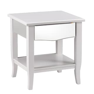 Upton Home Montmarth White Mirrored End Table