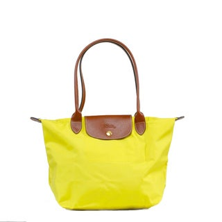 Longchamp Le Pilage Medium Shoulder Tote in Lemon
