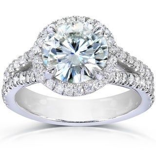 Annello 14k White Gold Round-cut Moissanite Gemstone and 1/2ct TDW Diamond Engagement Ring (G-H, I1-I2)