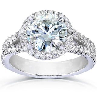 Annello 14k White Gold Round-cut Moissanite and 1/2ct TDW Diamond Halo Engagement Ring (G-H, I1-I2)