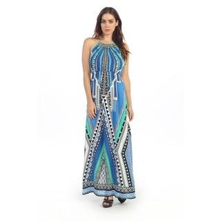 Hadari Women's Multi-colored Aztec Inspired Halter Maxi Dress