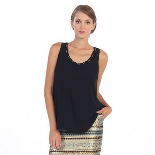 Hadari Women's Black Chain Collared Sleeveless Blouse Tank