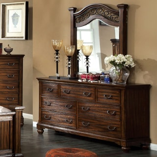 Furniture of America Locklore 2-Piece Antique Dark Oak Dresser and Mirror Set