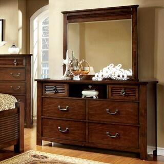 Furniture of America Erindale 2-Piece Slatted Dresser and Mirror Set