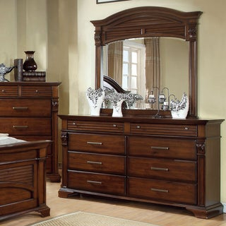 Furniture of America Eminell 2-Piece Slatted Dresser and Mirror Set