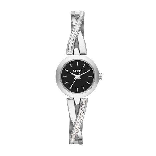 DKNY Women's NY2174 Crosswalk Black Silver Crystal Accented Watch