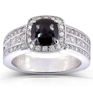 Annello 14k White Gold 1 3/4ct TDW Black and White Diamond Ring
