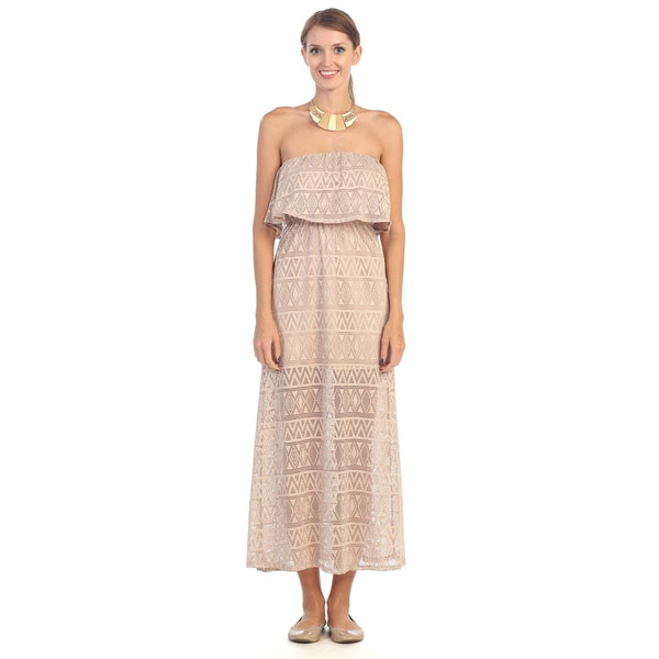 Hadari Women's Beige Strapless Maxi Dress
