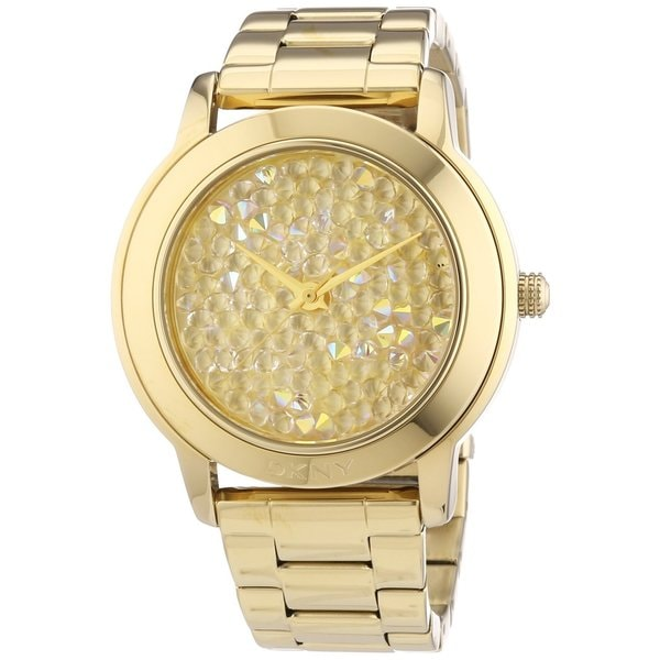 DKNY Women's NY8437 Gold-Tone Crystal Pave Watch