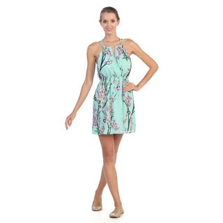Hadari Women's Mint Floral Cutout Surplice Dress