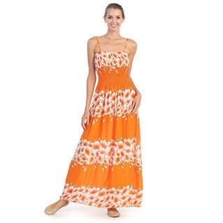 Hadari Women's Orange Tropics Maxi Dress