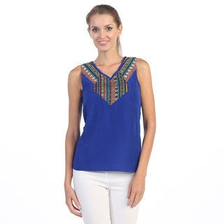Hadari Women's Royal Blue Tribal Sleeveless Tank