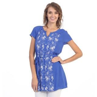 Hadari Women's Royal Embroidered Cap Sleeve Tunic