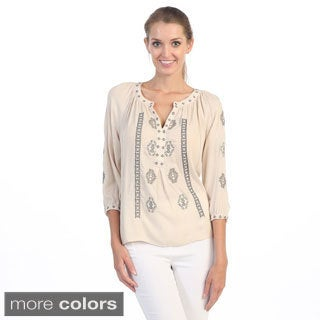 Hadari Women's Tribal Keyhole Peasant Top