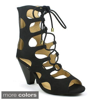 Mark & Maddux Women's 'Azealia-02' Lace-up Gladiator Cone Heel
