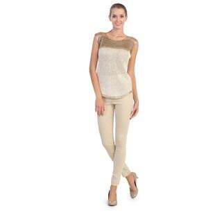 Hadari Women's Ivory Glitter-knit Cap Sleeve Top