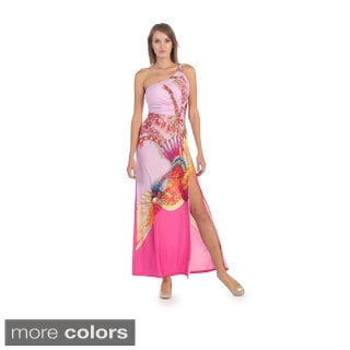 Hadari Women's Colorful Ruched One-shoulder Maxi Dress
