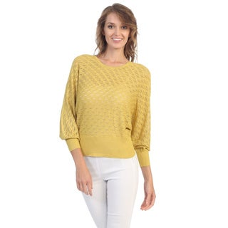Hadari Women's Mustard Yellow Long Dolman Sleeve Top