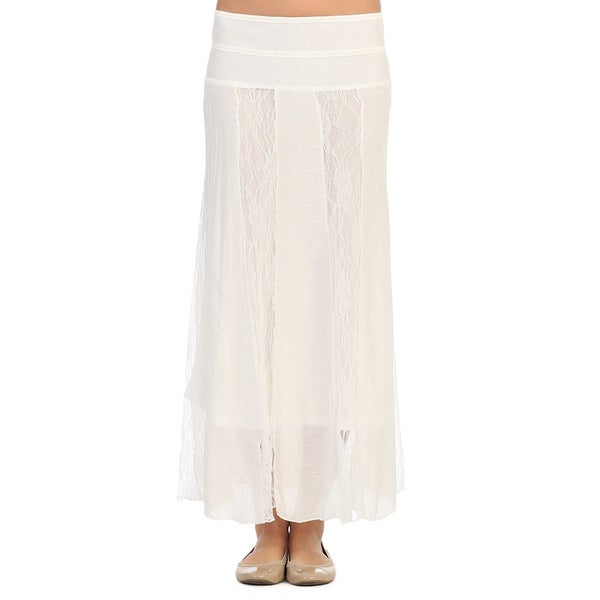 Hadari Women's White Lace Panel Maxi Skirt