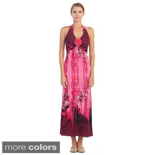 Hadari Women's Vibrant Halter Maxi Dress with Floral Detail