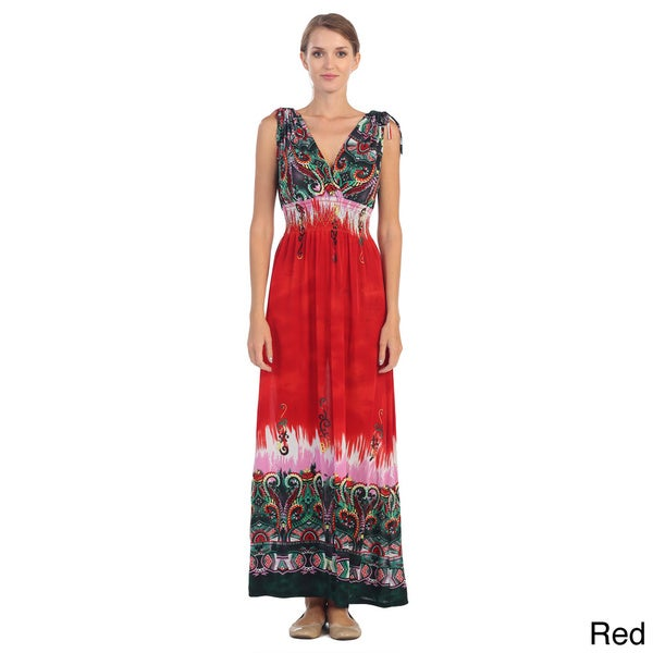 Hadari Women's Sleeveless V-neck Paisley Maxi Dress
