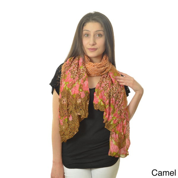 LA77 Women's Crinkled Animal/ Floral Print Scarf