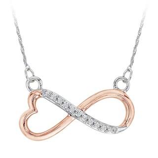 10k Two-tone Gold 1/10ct TDW Heart Shaped Infinity Diamond Pendant (J-K, I1-I2)