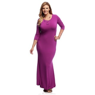 Women's Plus Size Magenta Mermaid Style Maxi Dress