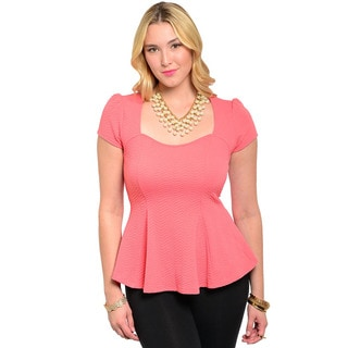 Feellib Women's Plus Short Sleeve Knit Peplum Top with Square Neckline