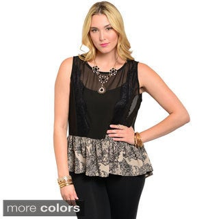 Feellib Women's Plus Sleeveless Peplum Top with Eyelash Lace Contrast Trim