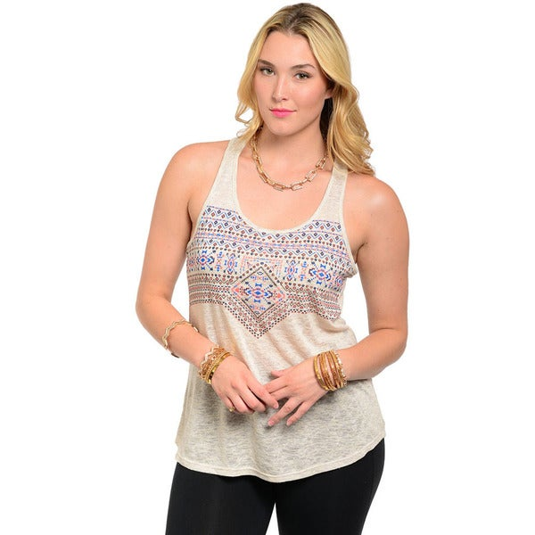 Shop The Trends Women's Plus Sleeveless Lightweight Tank Top with Multi-colored Geo Aztec Print