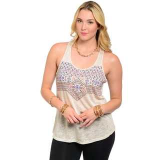 Feellib Women's Sleeveless Lightweight Tank Top with Multi-colored Geo Aztec Print