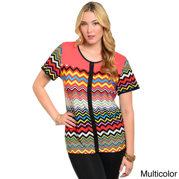 Shop The Trends Women's Plus Short Sleeve Boxy Fit Top with Multi-colored Bold Geo Zig-zag Print