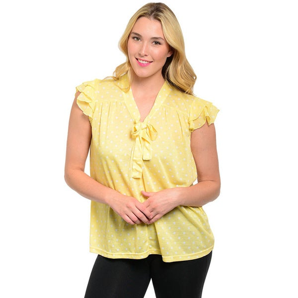 Shop The Trends Women's Plus Layered Flutter Sleeve Knit Top with Polka Dot Pattern Print