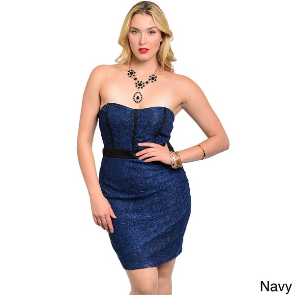 Shop The Trends Women's Plus Strapless Short Sweetheart Dress with Semi Sheer Lace Fabric