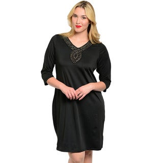 Feellib Women's Plus 3/4-length Sleeve Shift Dress with Beaded Neckline Accent