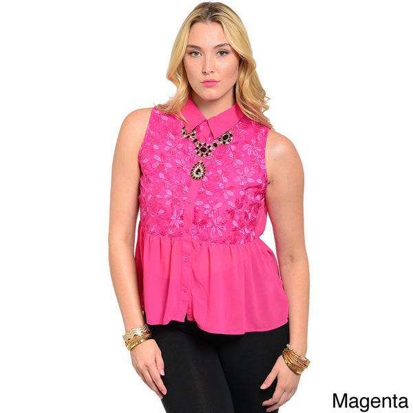 Shop The Trends Women's Plus Sleeveless Woven Button Down Peplum Top with Floral Print