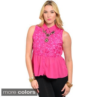 Feellib Women's Sleeveless Woven Button Down Peplum Top with Floral Print