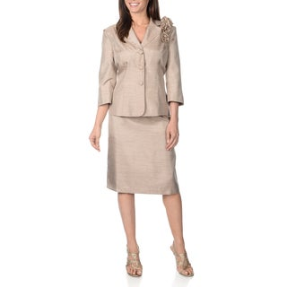 Danillo Women's Shantung 2-piece Champagne Skirt Suit with Flower Detail