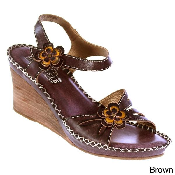 Spring Step Women's 'L'Artiste' Leather Floral-trim Wedge Sandals