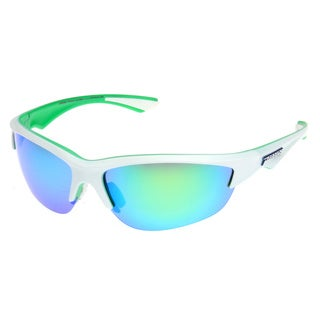 Pepper's Men's 'Road Warrior' Matte White and Green Polarized Sport Sunglasses