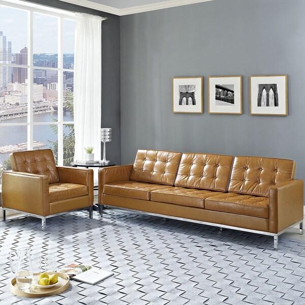 Loft Tan Leather 2-piece Armchair and Sofa Set