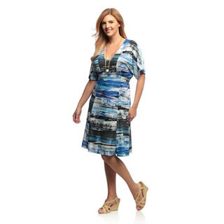 24/7 Comfort Apparel Women's Plus Size Multi-Print Short Sleeve Tie-Back Knee-Length Dress