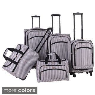 American Flyer Oxford Pinstripe 5-piece Spinner Luggage Set