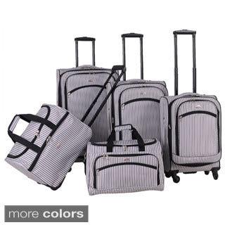 American Flyer Oxford Pinstripe 5-piece Spinner Luggage Set